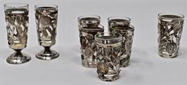 Mexican Sterling Overlaid Shot glass set