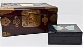 Chinese Brass bound box with ivory medallion