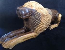 Carved hard wood lion