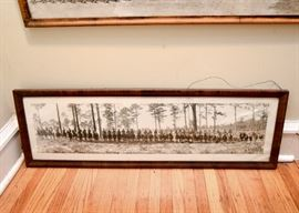 Antique Panoramic Group Photo (Horses), Framed