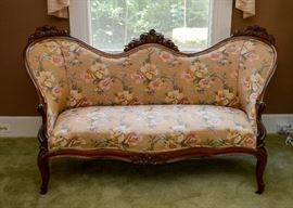 "BUY IT NOW!  Lot 100, Victorian Settee / Sofa with Floral Upholstery, $350 (Approx. 67.5"" L x 38"" H)"