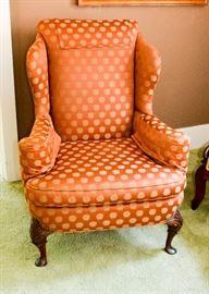 BUY IT NOW!  Lot 101, Wingback Chair, Orange Polka Dot Upholstery, $150