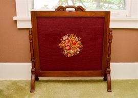 BUY IT NOW!  Lot 103, Antique / Vintage Needlepoint Fireplace Screen, $200