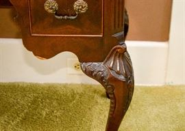 BUY IT NOW!  Lot 104, Stunning Antique Mahogany Keyhole Desk with Carved Legs, $350