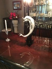 Large Murano Glass Dolphin riding a wave