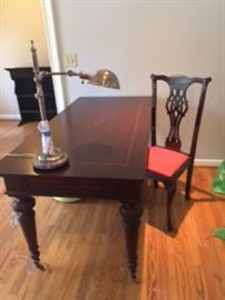 """library table 30' x 5'6"""", lamp and chair"""