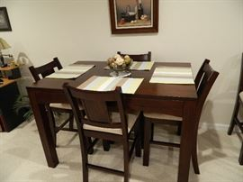 Dark Wood Bar Top Table with Five Chairs & One Leaf