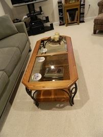 Coffee Table out of Wood, glass & Wrought Iron