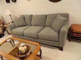 Microfiber Green Sofa; Wood, Glass & Wrought Iron Coffee Table