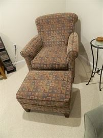 Modern Patterned Casual Chair & Ottoman