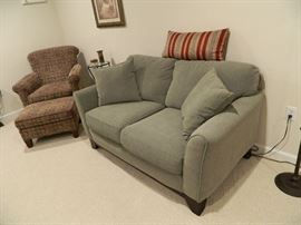 Microfiber Green Fabric Love Seat & Patterned Casual Chair