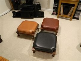 Mid-Century Retro Style Leatherette-covered stacking stools