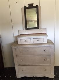 Primitive dresser with cool inlaid mirror