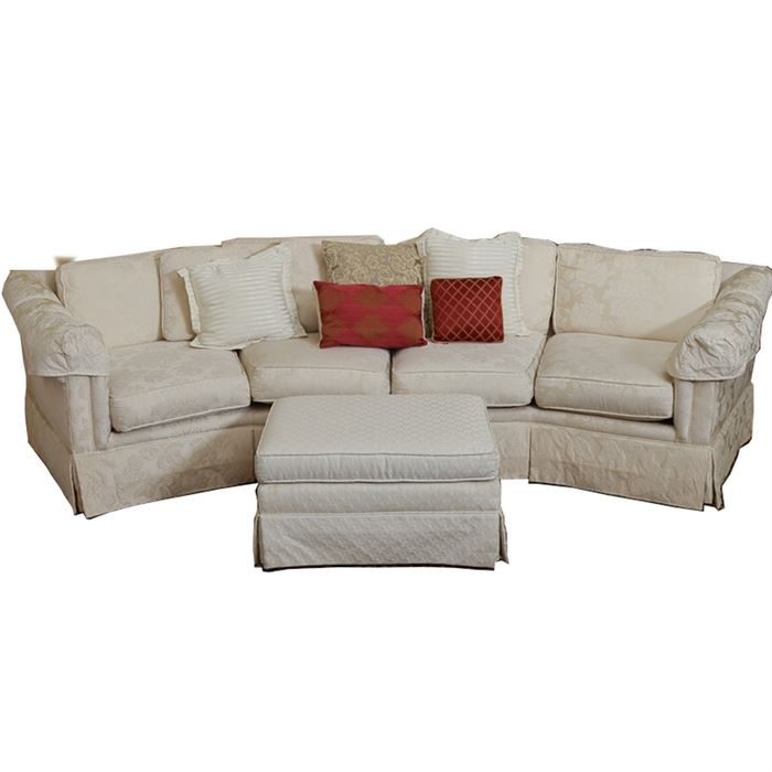 This Sofa Features A Floral Brocade Pattern All Over Expressed In Off White Shades It Has A Bowed Shape With Four Cushions And A Pleated Skirt