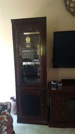 Cherry glass front wall unit - $100