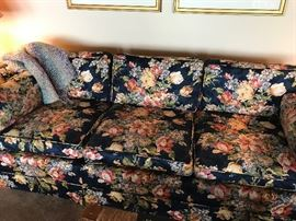 Epic Vintage Couch and Loveseat, Navy background with Floral design