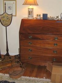 early 19th century fire shield, slant front desk 19th cent.