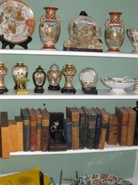 nice satsuma pieces, antique books, also more in house