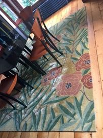 Floral Green, Salmon & Ochre Rug from ABC Carpet   (8' x 10')
