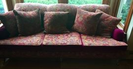 Floral Tapestry 3 Cushion Sofa on Wheels w/ Magenta Mohair Accents (87'' x 43'' x 33'')