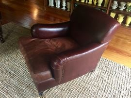 George Smith Chestnut Brown Leather Club Chair on Wheels (34'' x 44'' x 34'')