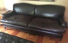 George Smith Dark Brown Leather 2 Cushion Sofa on Wheels (85'' x 39'' x 34'')