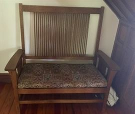 Stickley Craftsman Oak Spindle Back Bench w/ Tapestry Cushion (48'' x 22.5'' x 49'')