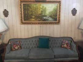 •	1940s Chesterfield French Couch with Needlepoint Pillows, original oil painting