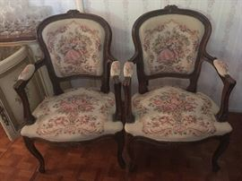 •	Set of  Six 19th Century Style French Antique Louis Xvi Style Brocaded / Needlepoint Fauteuils Chairs