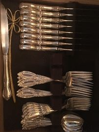 •	Serving for Eight, Four Piece King Richard Sterling Silver Set