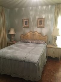 Painted Cottage Shabby Chic Marie Antoinette Romantic French made Bedroom set with dresser, twin bed, side tables.