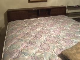 American of Martinsville King size bookcase headboard and frame and King mattress and boxsping