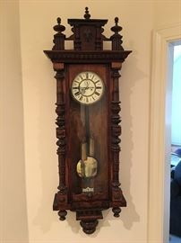Beautiful Antique wall clock- it works!