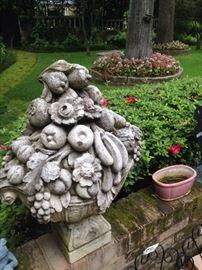 Detailed vegetable/fruit concrete yard art