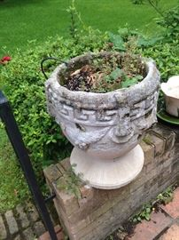 One of two concrete planters