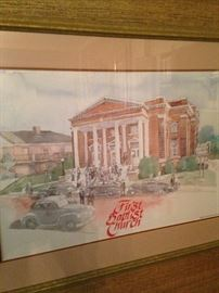 Watercolor of First Baptist Church (by Tylerite Dana Adams)