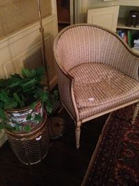 Brass plant stand; Asian planter; upholstered antique barrel back chair