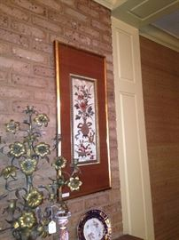 One of two framed Asian art selections