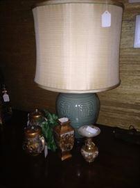 Asian style celadon lamp