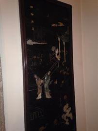 One of two mother of pearl antique Asian panels