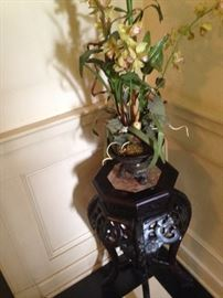 Asian style plant stand and artificial orchid plant