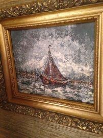 Framed sailboat oil