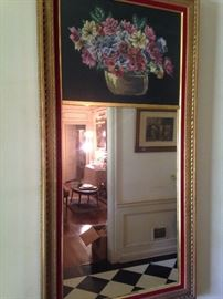 Framed mirror with needlepoint top