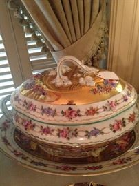 Gorgeous serving dish with lid and underplate