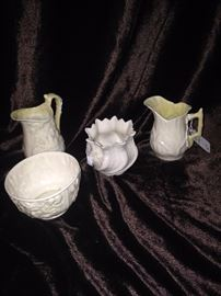 Belleek -  porcelain that is characterised by its thinness and is slightly iridescent surface
