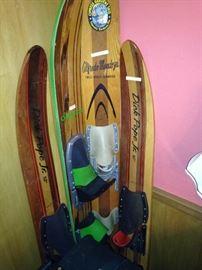 Vintage wooden water skis