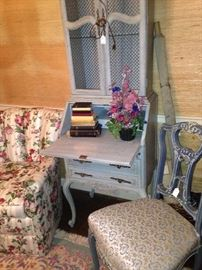 Floral upholstered bedroom chair; pale blue French secretary & chair