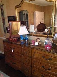 Triple dresser; large mirror