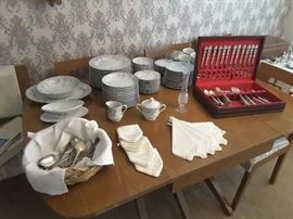 Danish Dining Table (6 chairs, 3 leaves) Community Silver Plated Flatware, extra pieces of flatware, laced napkins, Dish Set