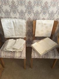 Napkins set with matching table cloths and runner. Chairs to the dining room table.